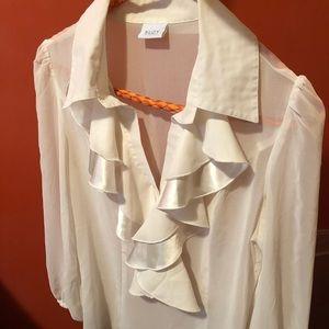 Suzy Shier sheer cream blouse